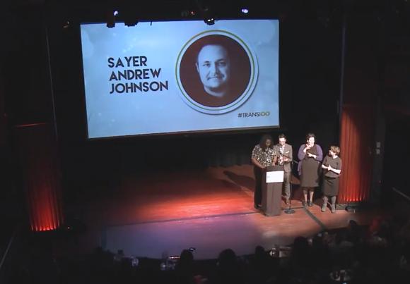 Sayer Johnson honored at Trans100, 2015